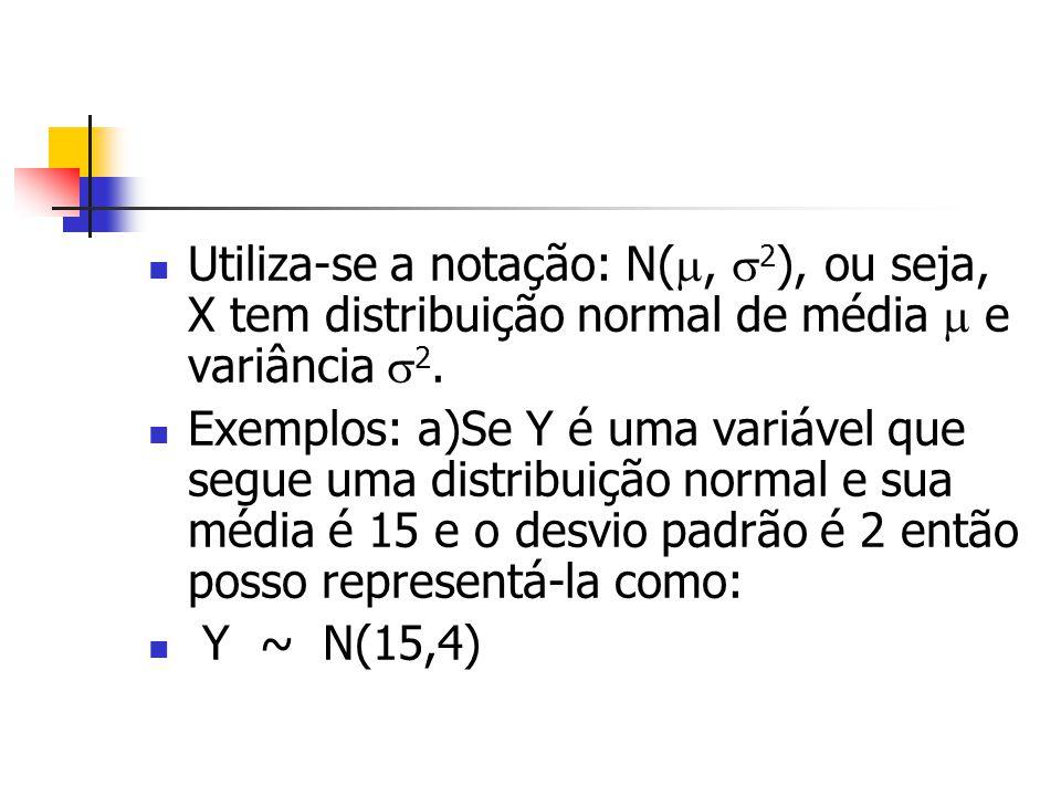 Utiliza-se a notação: N(, 2), ou seja, X tem distribuição normal de média  e variância 2.