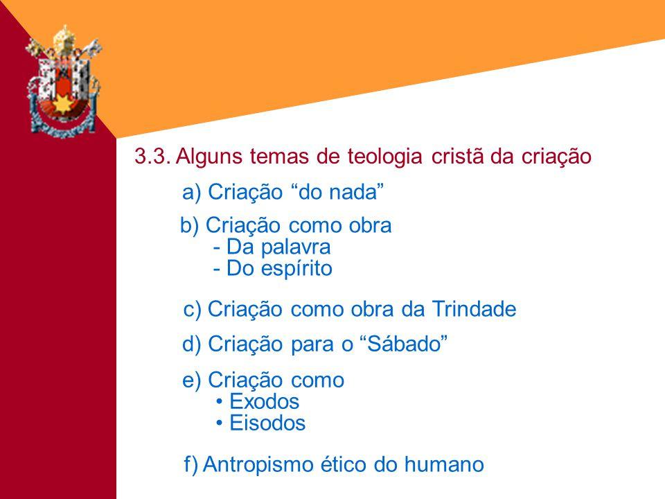 3.3. Alguns temas de teologia cristã da criação