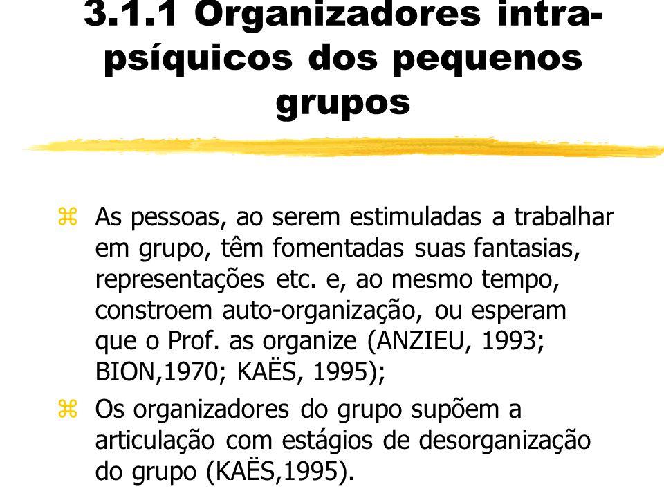 3.1.1 Organizadores intra-psíquicos dos pequenos grupos