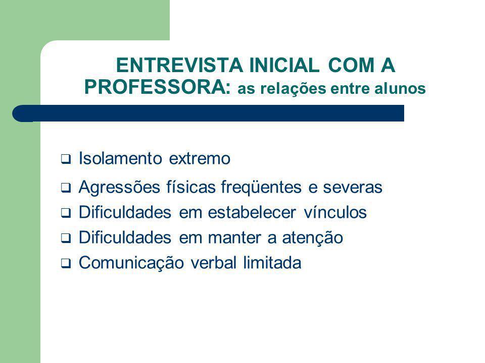 ENTREVISTA INICIAL COM A PROFESSORA: as relações entre alunos