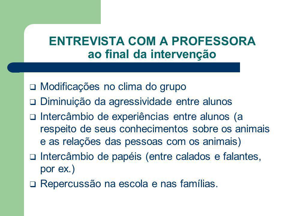 ENTREVISTA COM A PROFESSORA ao final da intervenção