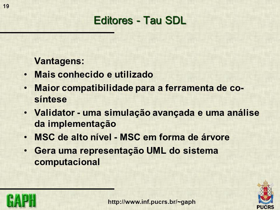 Editores - Tau SDL Vantagens: Mais conhecido e utilizado