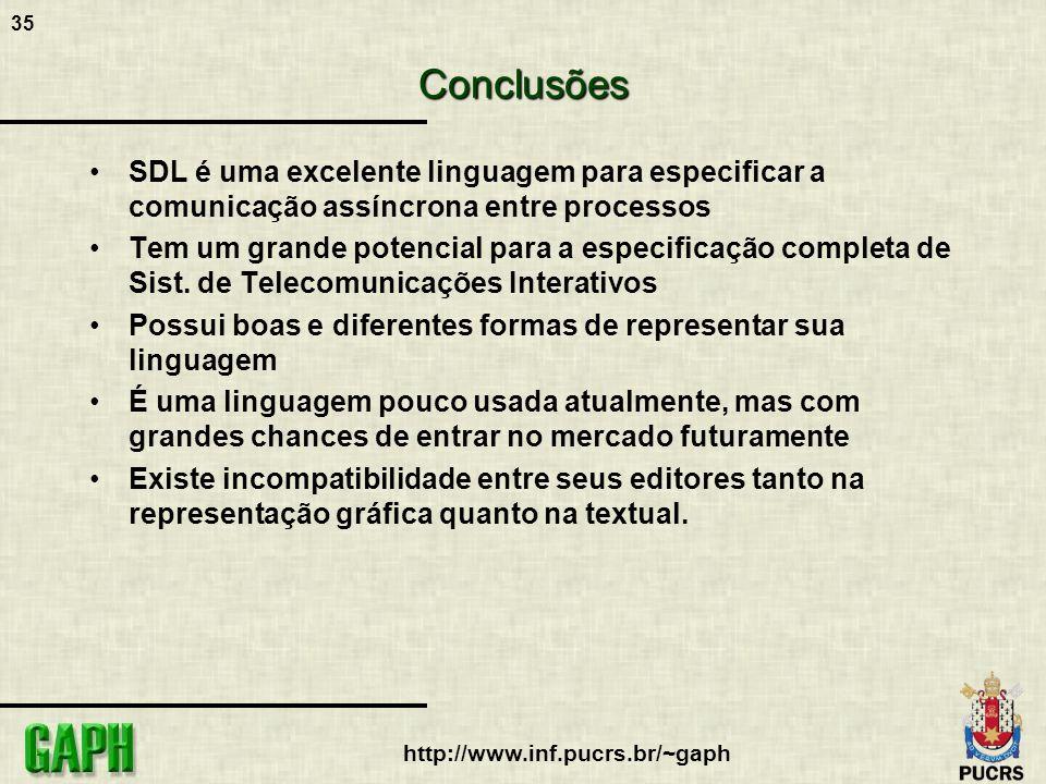 Conclusões SDL é uma excelente linguagem para especificar a comunicação assíncrona entre processos.