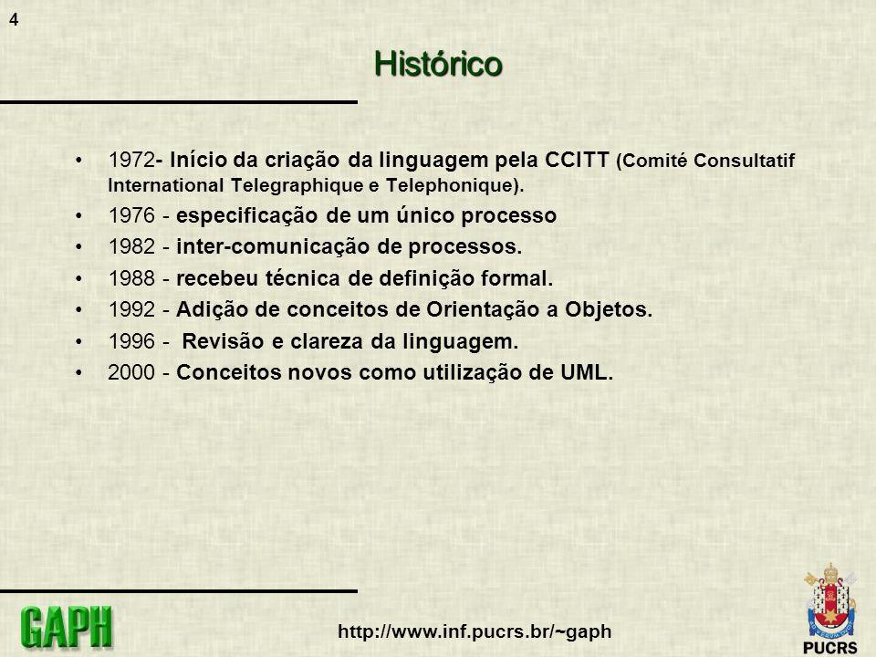 Histórico 1972- Início da criação da linguagem pela CCITT (Comité Consultatif International Telegraphique e Telephonique).