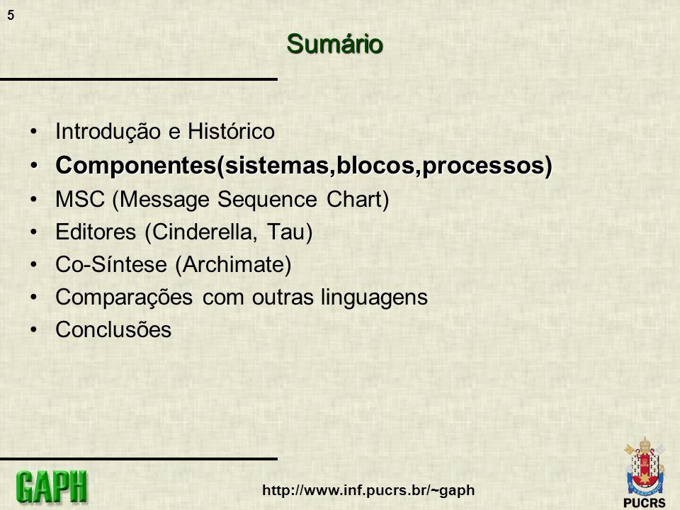 Sumário Componentes(sistemas,blocos,processos) Introdução e Histórico