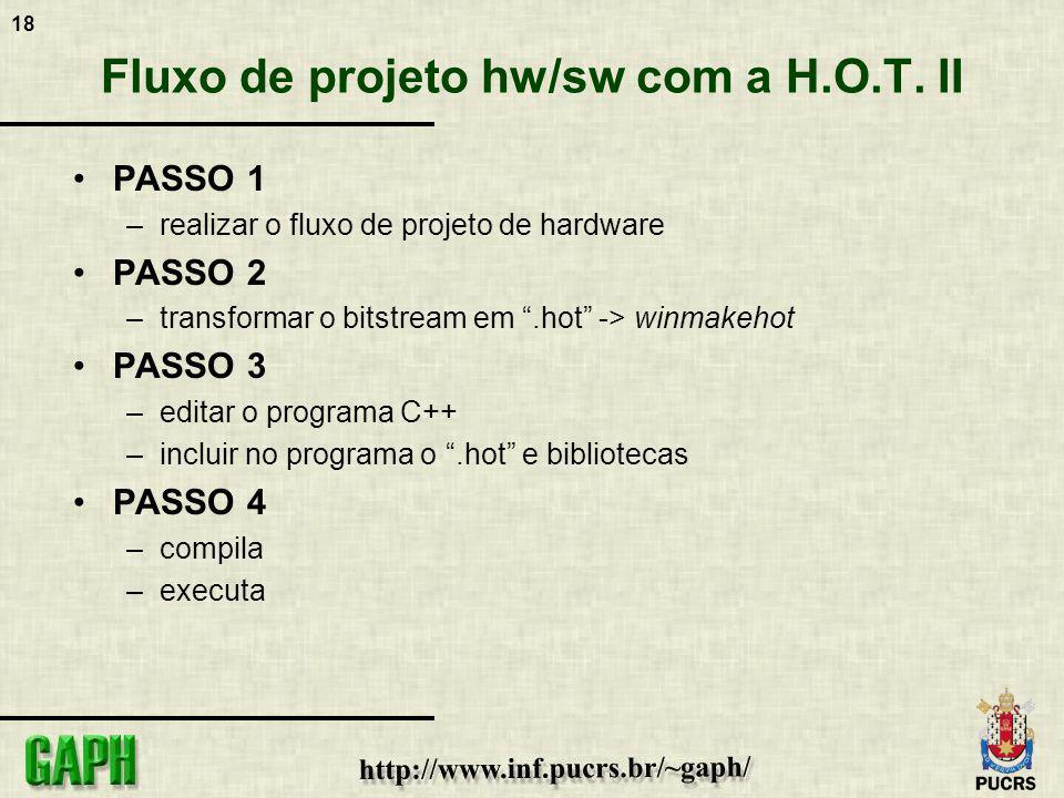 Fluxo de projeto hw/sw com a H.O.T. II