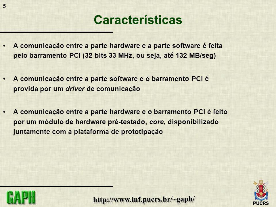 Características A comunicação entre a parte hardware e a parte software é feita pelo barramento PCI (32 bits 33 MHz, ou seja, até 132 MB/seg)