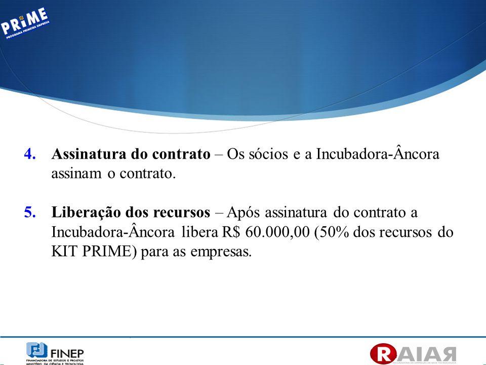Assinatura do contrato – Os sócios e a Incubadora-Âncora assinam o contrato.