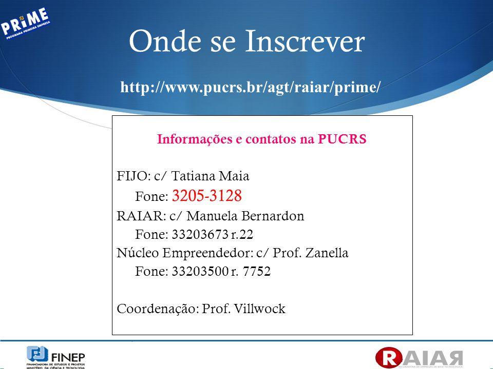 Informações e contatos na PUCRS