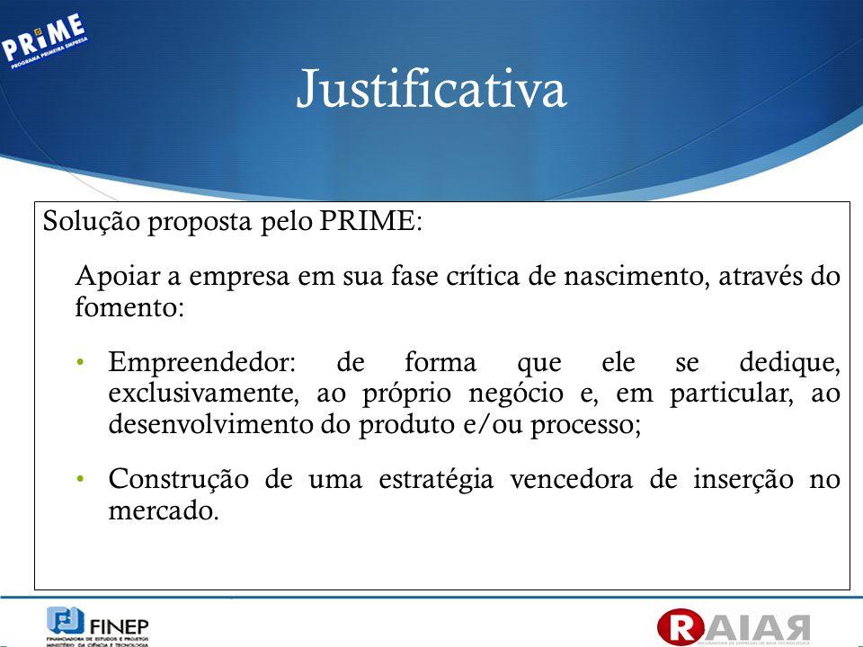 Justificativa Solução proposta pelo PRIME: