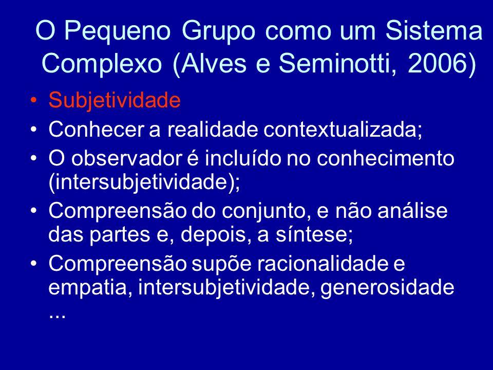 O Pequeno Grupo como um Sistema Complexo (Alves e Seminotti, 2006)