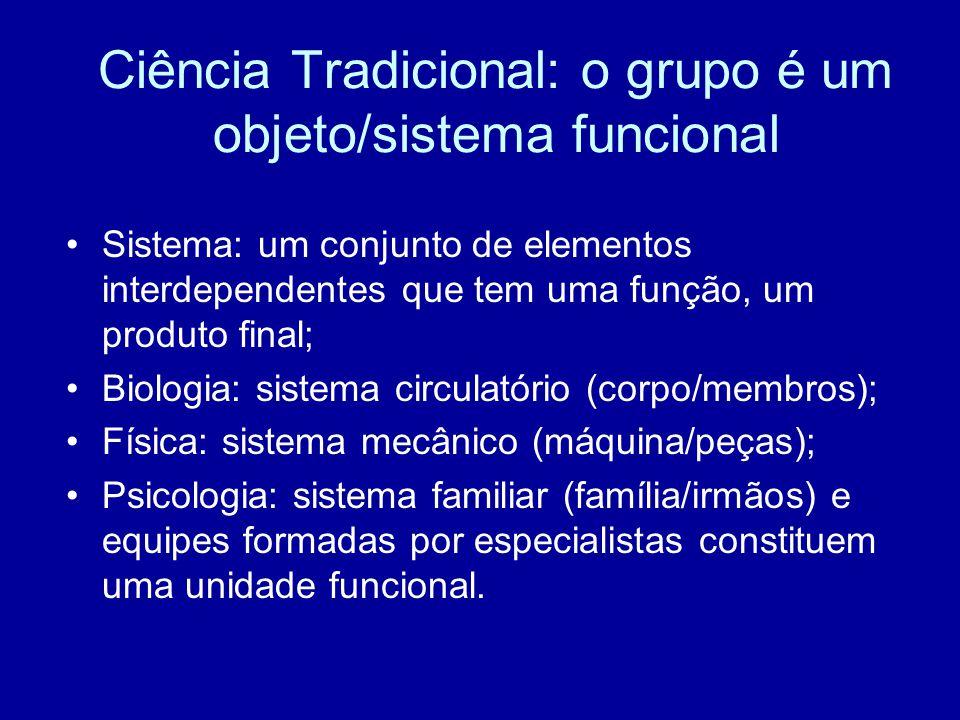 Ciência Tradicional: o grupo é um objeto/sistema funcional