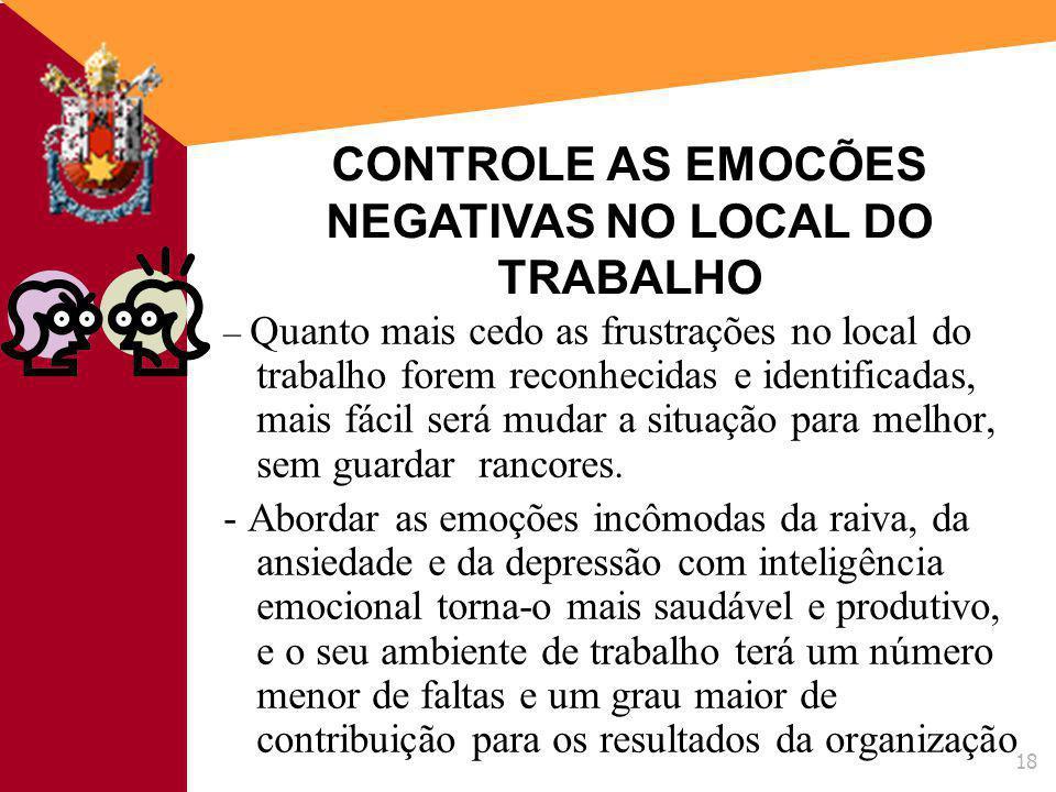 CONTROLE AS EMOCÕES NEGATIVAS NO LOCAL DO TRABALHO