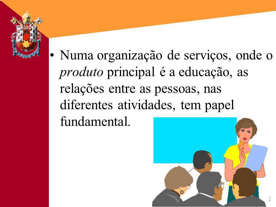 Numa organização de serviços, onde o produto principal é a educação, as relações entre as pessoas, nas diferentes atividades, tem papel fundamental.