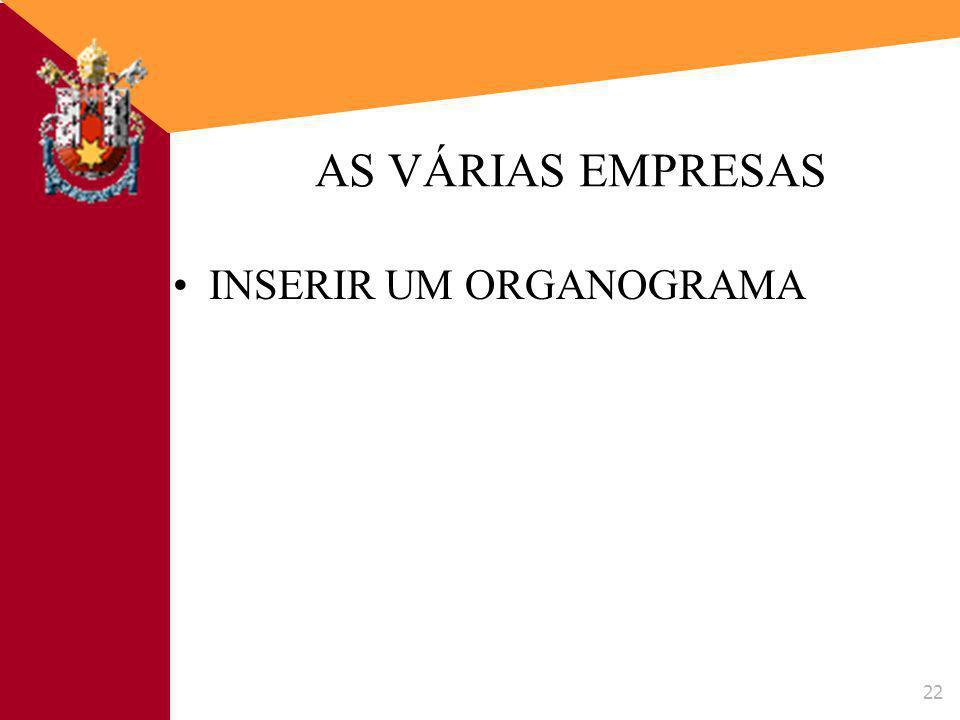 AS VÁRIAS EMPRESAS INSERIR UM ORGANOGRAMA