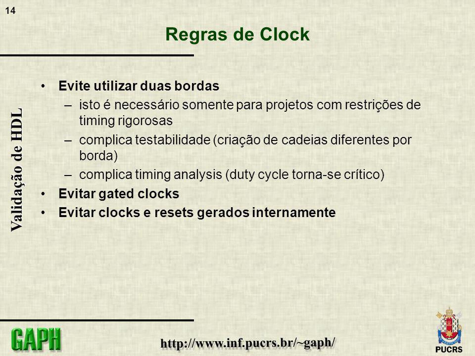 Regras de Clock Evite utilizar duas bordas