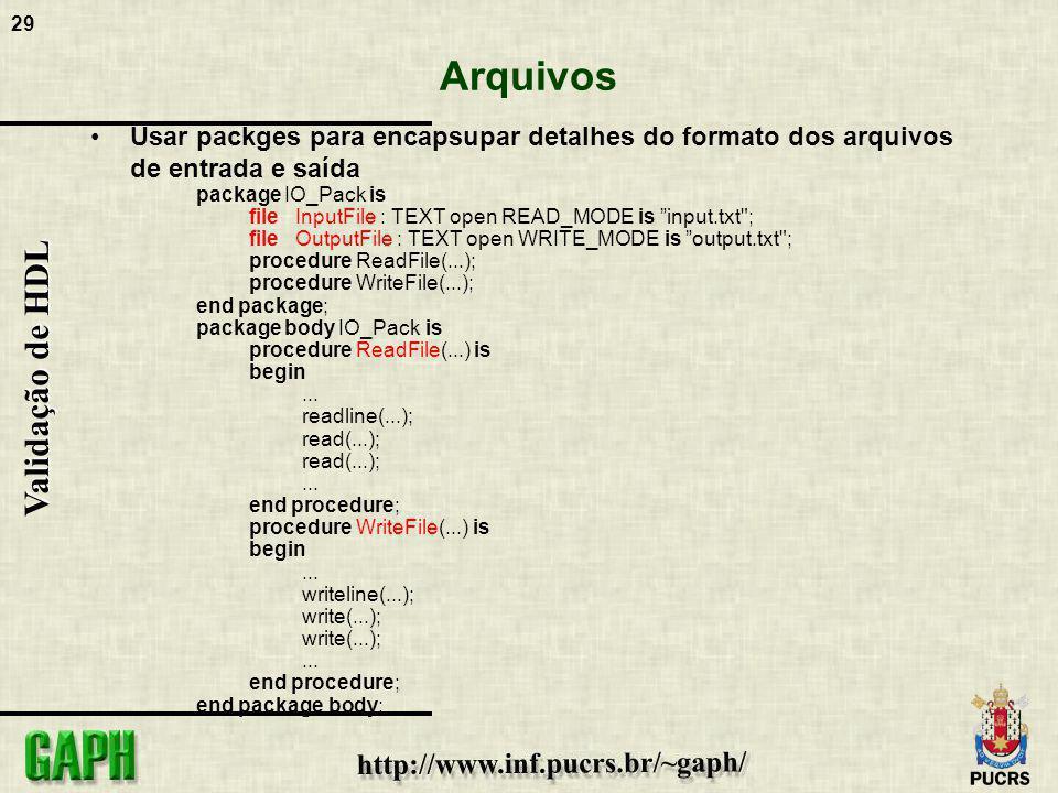 Arquivos Usar packges para encapsupar detalhes do formato dos arquivos de entrada e saída. package IO_Pack is.