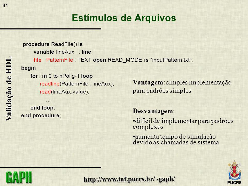 Estímulos de Arquivos procedure ReadFile() is. variable lineAux : line; file PatternFile : TEXT open READ_MODE is inputPattern.txt ;