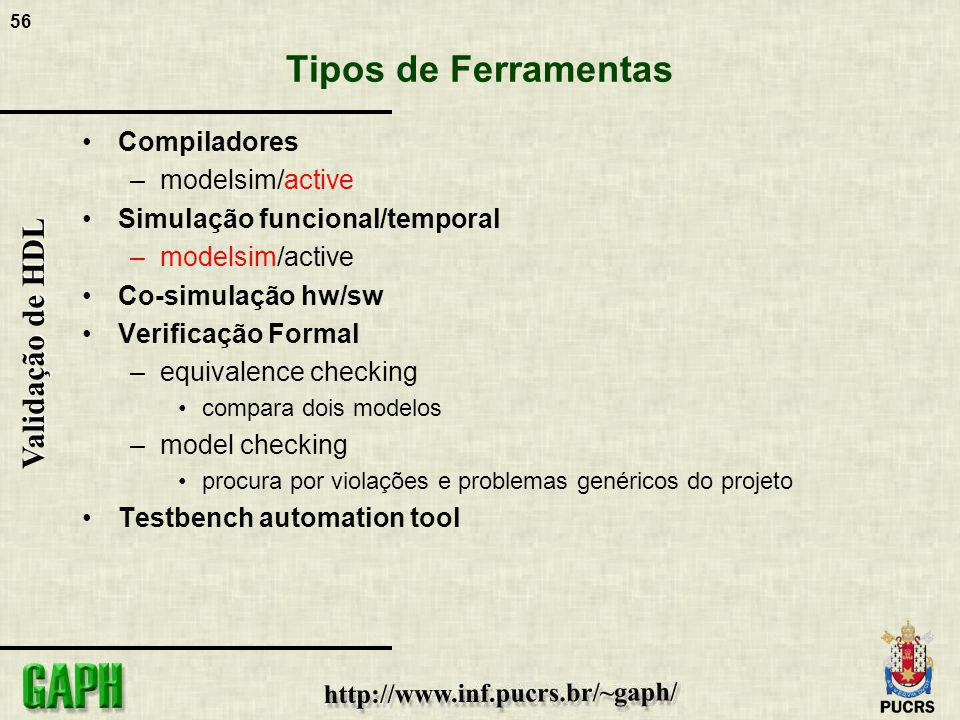 Tipos de Ferramentas Compiladores modelsim/active