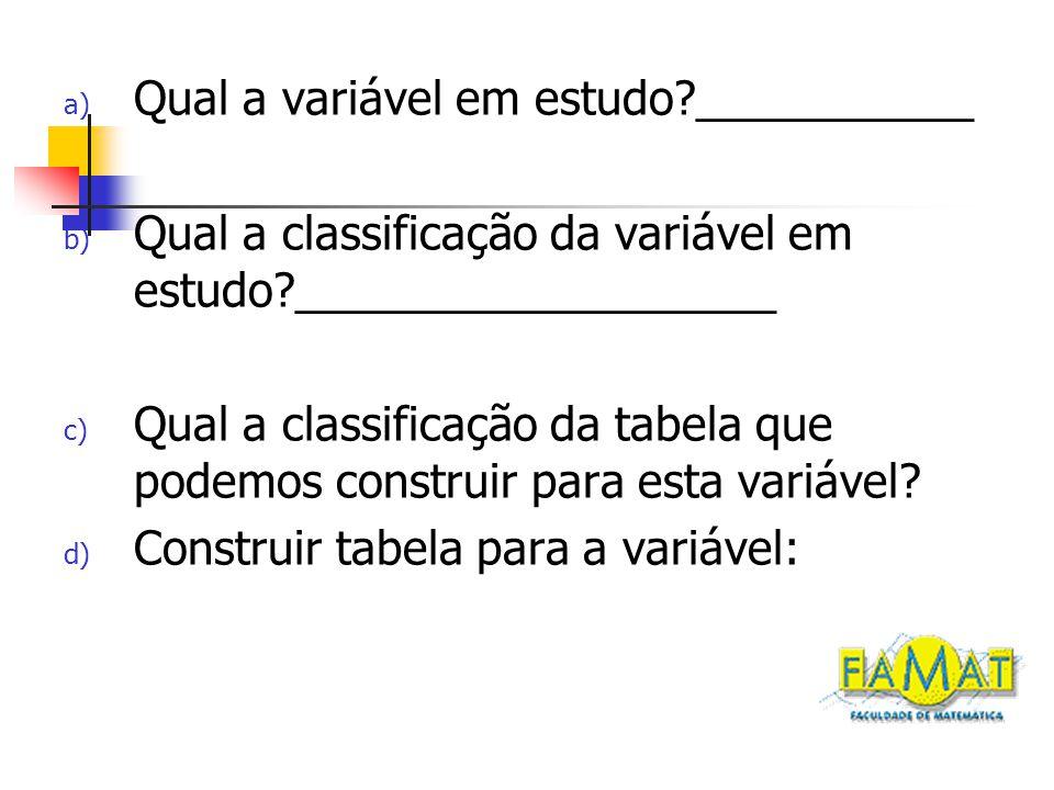 Qual a variável em estudo ___________