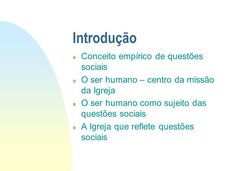 Introdução Conceito empírico de questões sociais