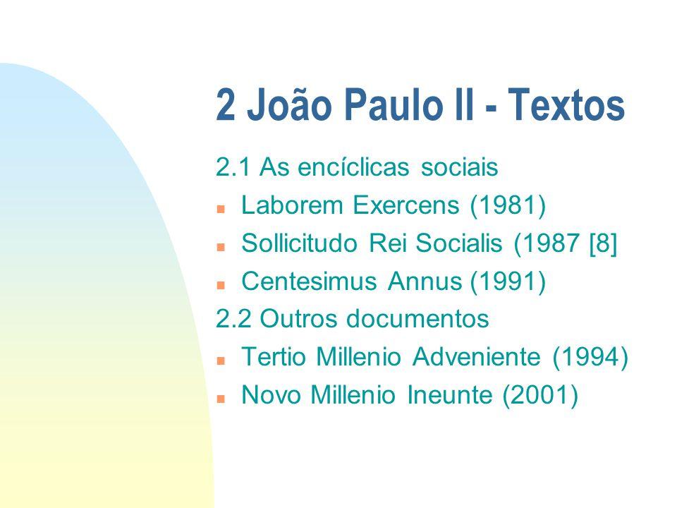 2 João Paulo II - Textos 2.1 As encíclicas sociais