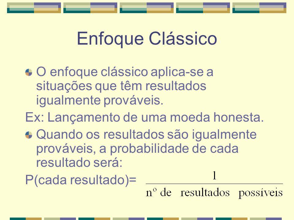 Enfoque Clássico O enfoque clássico aplica-se a situações que têm resultados igualmente prováveis. Ex: Lançamento de uma moeda honesta.
