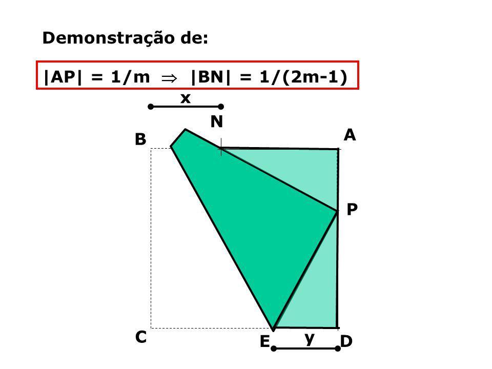 Demonstração de: |AP| = 1/m  |BN| = 1/(2m-1) x P D C B A N y E