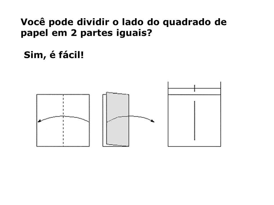 Você pode dividir o lado do quadrado de papel em 2 partes iguais
