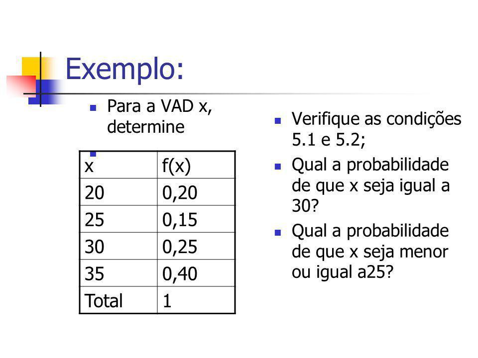 Exemplo: Para a VAD x, determine. Verifique as condições 5.1 e 5.2; Qual a probabilidade de que x seja igual a 30