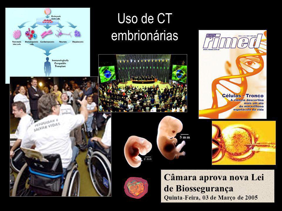 Uso de CT embrionárias Câmara aprova nova Lei de Biossegurança