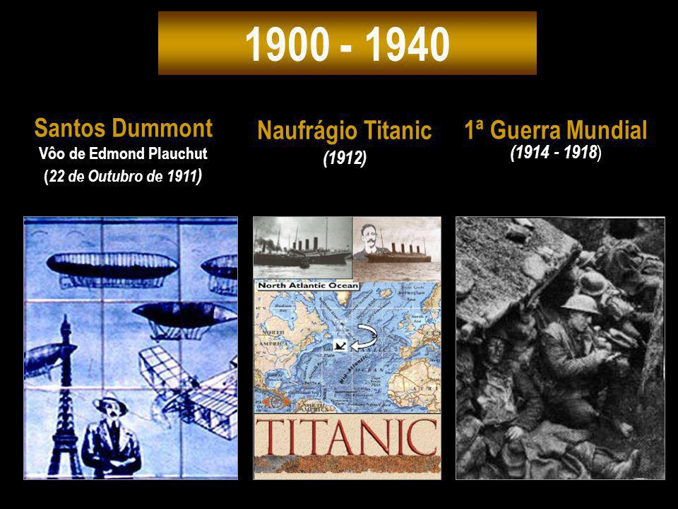 1900 - 1940 Santos Dummont Naufrágio Titanic 1ª Guerra Mundial (1912)