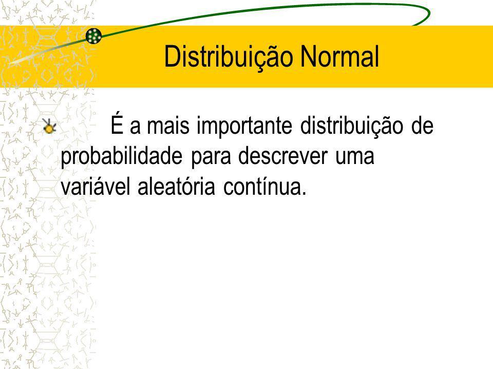 Distribuição Normal É a mais importante distribuição de probabilidade para descrever uma variável aleatória contínua.
