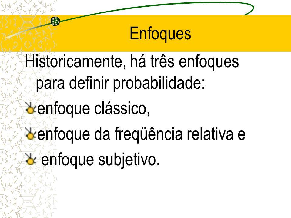 Enfoques Historicamente, há três enfoques para definir probabilidade: enfoque clássico, enfoque da freqüência relativa e.
