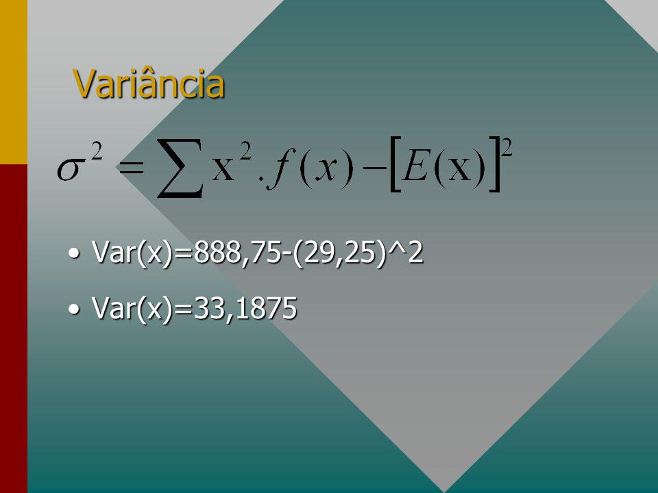 Variância Var(x)=888,75-(29,25)^2 Var(x)=33,1875
