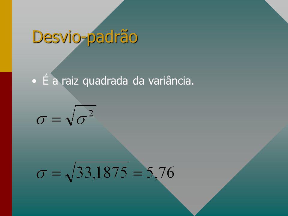 Desvio-padrão É a raiz quadrada da variância.