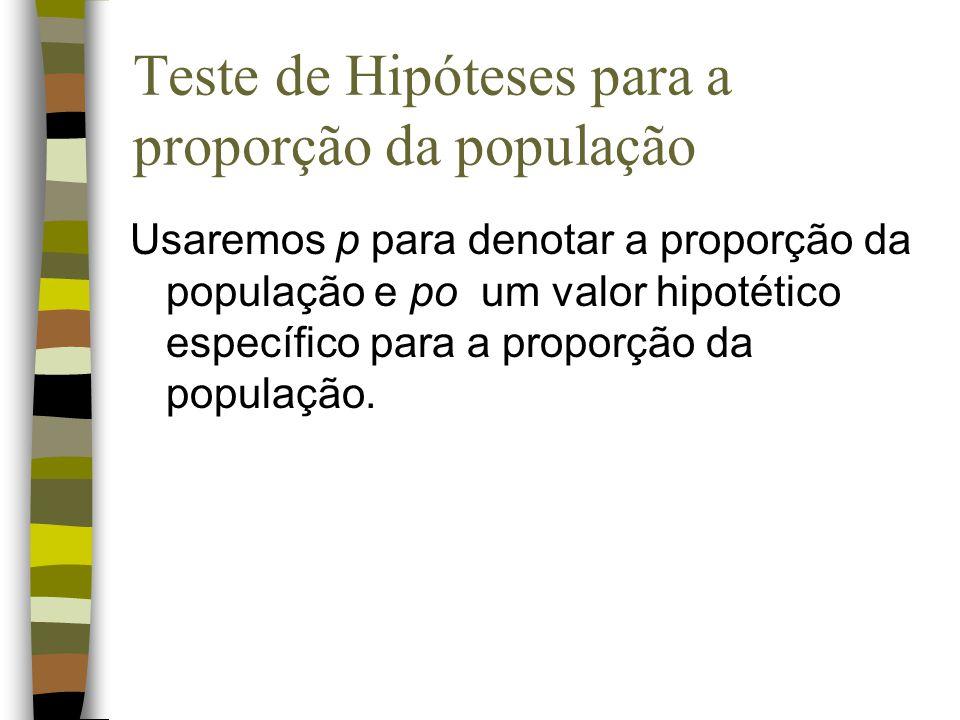 Teste de Hipóteses para a proporção da população