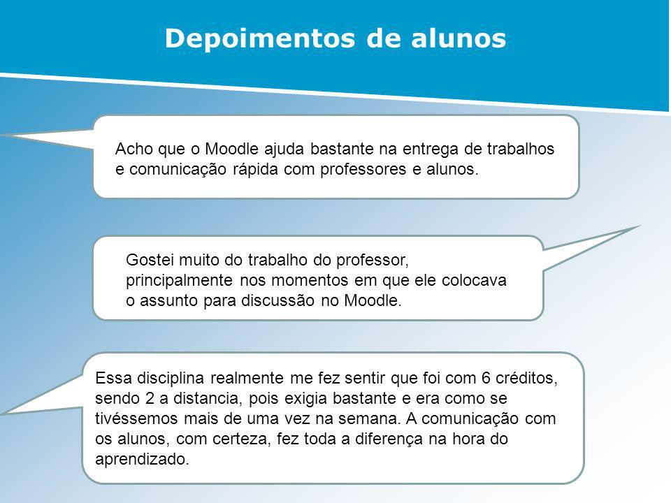 Depoimentos de alunos Acho que o Moodle ajuda bastante na entrega de trabalhos e comunicação rápida com professores e alunos.