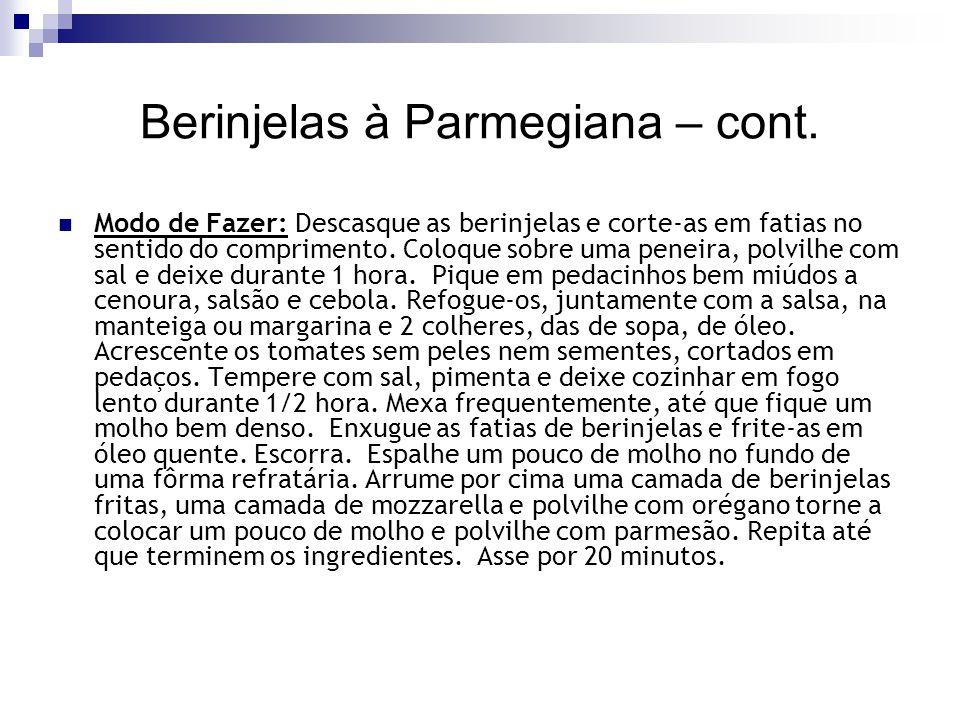 Berinjelas à Parmegiana – cont.