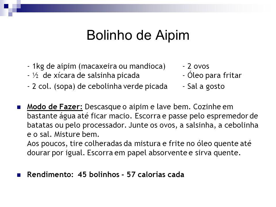 Bolinho de Aipim - 1kg de aipim (macaxeira ou mandioca) - 2 ovos - ½ de xícara de salsinha picada - Óleo para fritar.