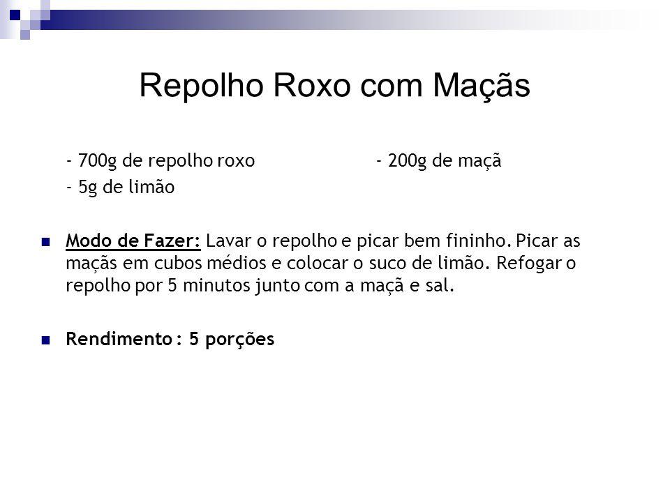 Repolho Roxo com Maçãs - 700g de repolho roxo - 200g de maçã