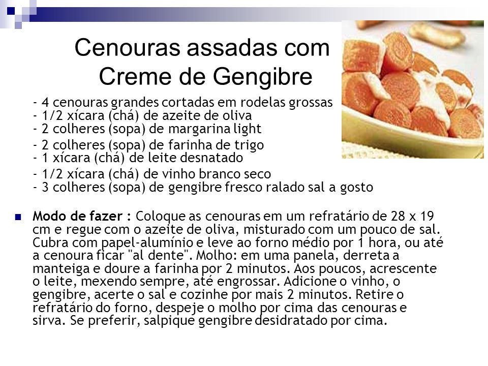 Cenouras assadas com Creme de Gengibre