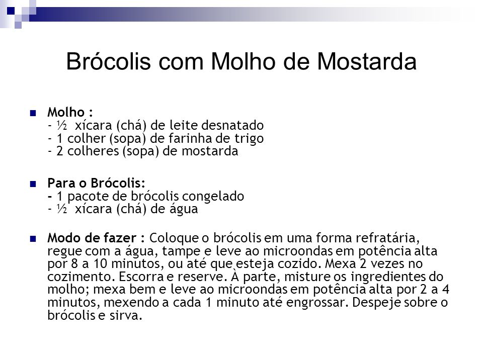 Brócolis com Molho de Mostarda