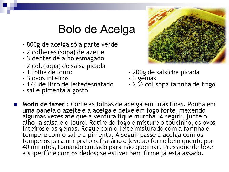 Bolo de Acelga - 800g de acelga só a parte verde