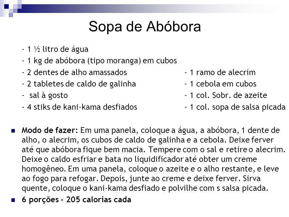 Sopa de Abóbora - 1 ½ litro de água