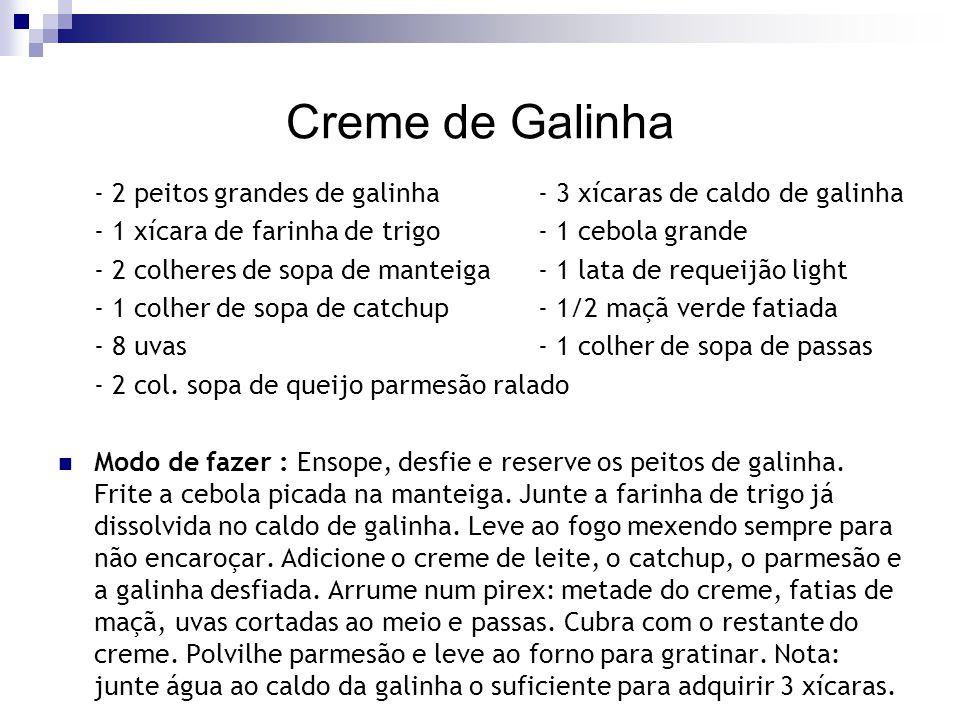 Creme de Galinha - 2 peitos grandes de galinha - 3 xícaras de caldo de galinha. - 1 xícara de farinha de trigo - 1 cebola grande.