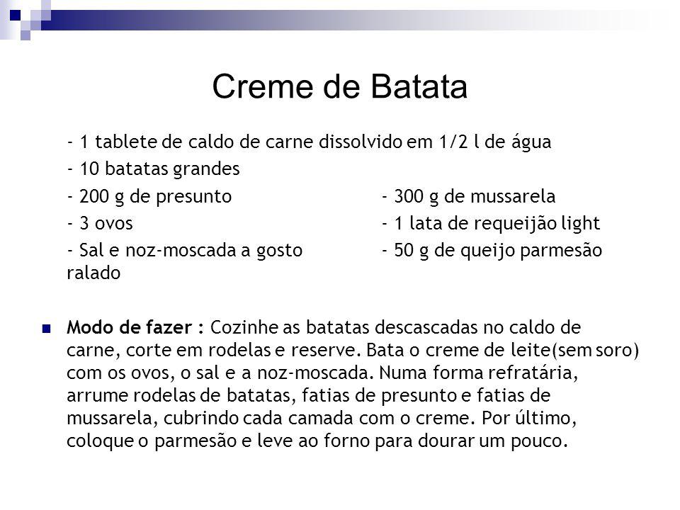 Creme de Batata - 1 tablete de caldo de carne dissolvido em 1/2 l de água. - 10 batatas grandes. - 200 g de presunto - 300 g de mussarela.