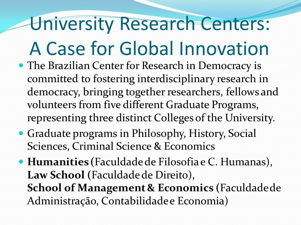 University Research Centers: A Case for Global Innovation