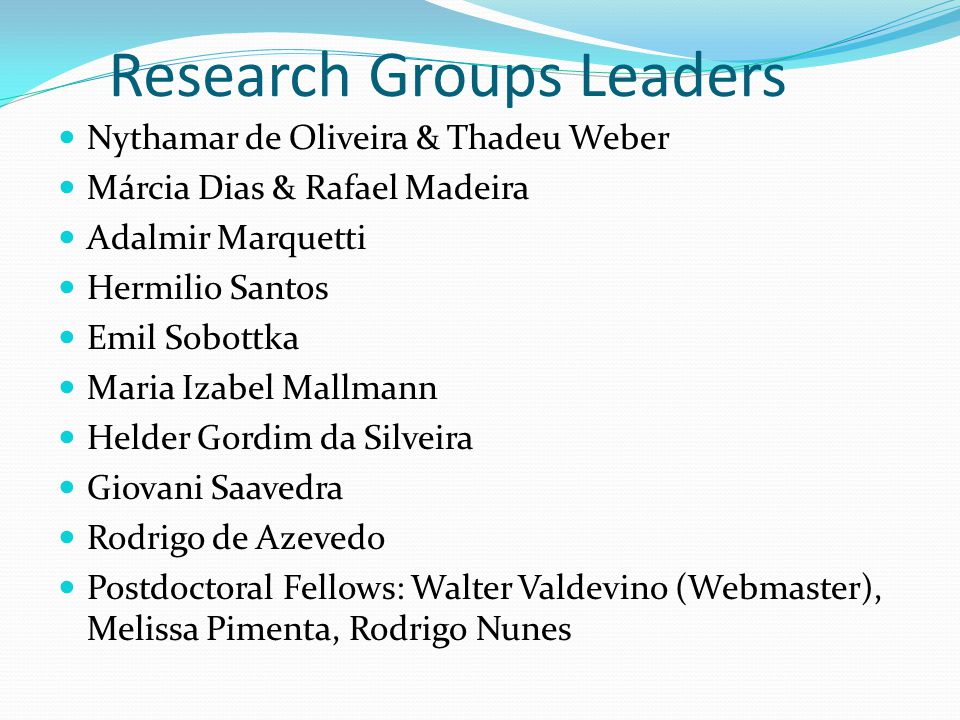 Research Groups Leaders