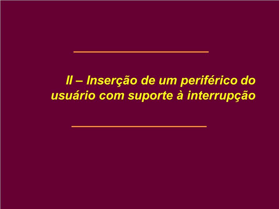 II – Inserção de um periférico do usuário com suporte à interrupção